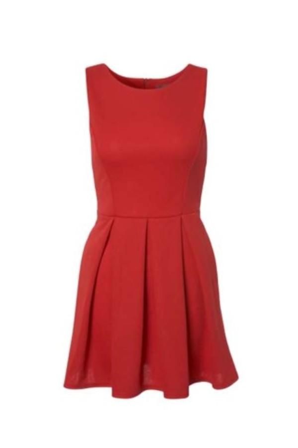 dress red dress pleated skirt