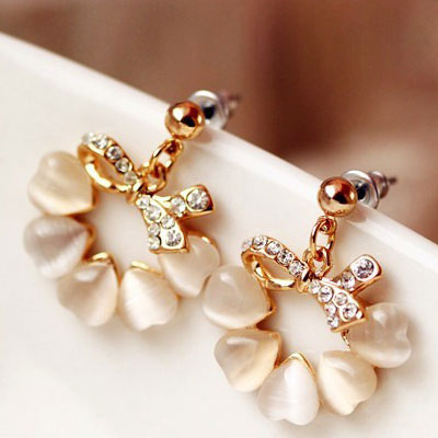 Zircon Earrings with Gold Wish Bow   Tomato Tree