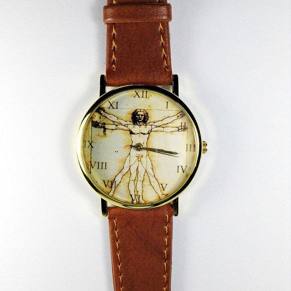Anatomy Watch Da Vinci Vitruvian Man Vintage Style by FreeForme