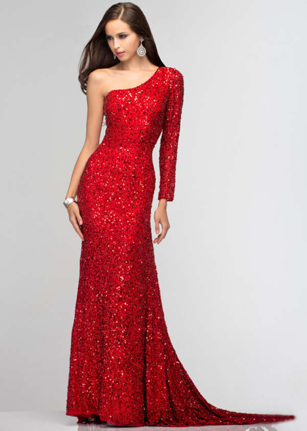 dress one shoulder prom gown