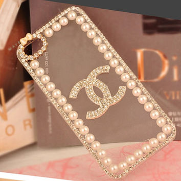 Chanel iphone 5 case chanel case iphone 4s case pearl iphone 5 case bling chanel case transparent case on Wanelo