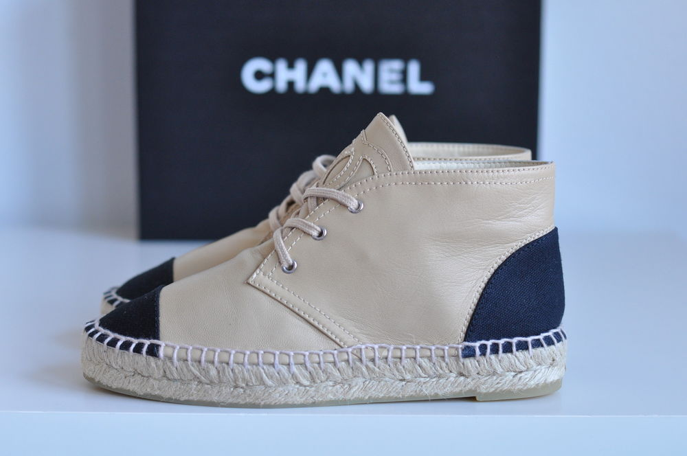 Auth Chanel CC Leather Ankle Espadrille High Top Flat Sneakers Boots Sz 8 38 | eBay