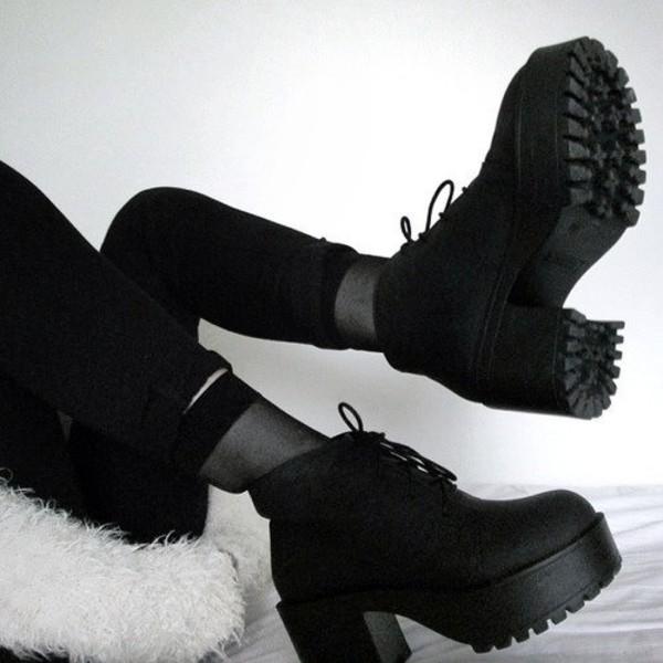 shoes black shoes boots grunge platform shoes