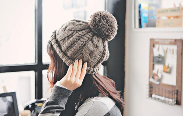 hat beanie winter outfits pom pom grey warm pom pom beanie hipster wishlist