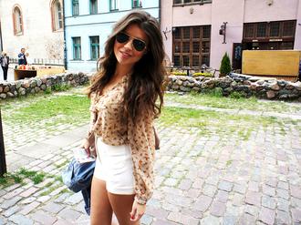 blouse top glasses sunglasses rayban shorts white shorts white shirt brown blouse girl outfit tumblr