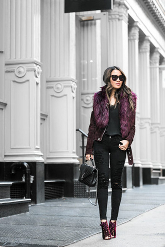 wendy's lookbook blogger top jacket bag shoes suede jacket ysl bag black jeans ankle boots purple shoes winter date night outfit fur collar jacket