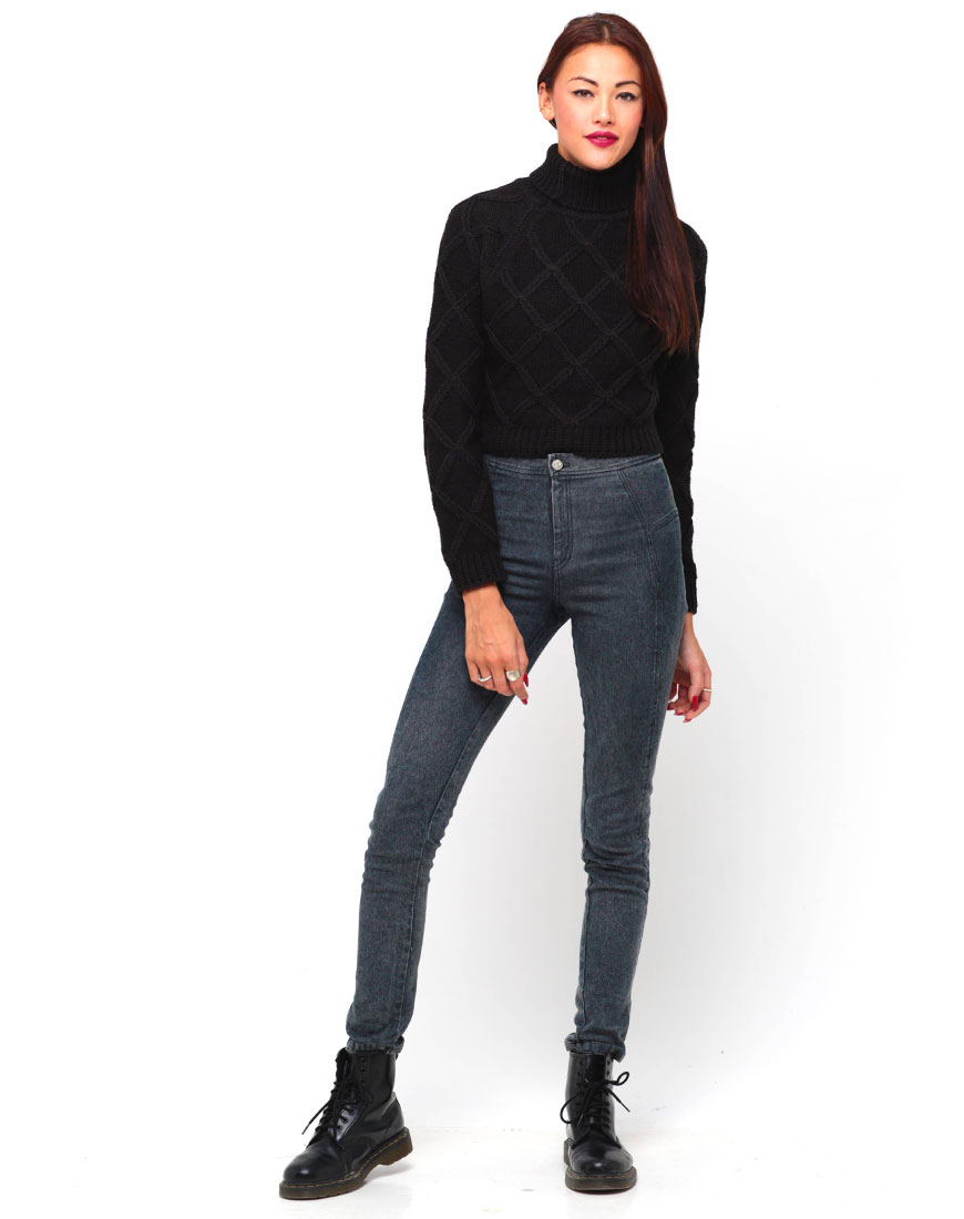 Buy Motel Florence Turtleneck Knit Jumper in Black at Motel Rocks