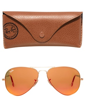 Ray-Ban   Ray-Ban – Verspiegelte Pilotensonnenbrille in Orange bei ASOS