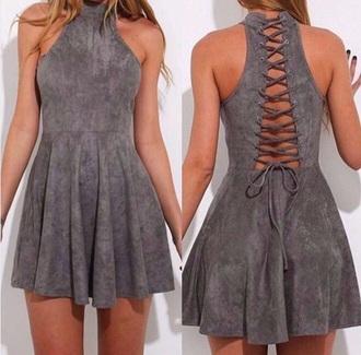 dress short dress grey soft