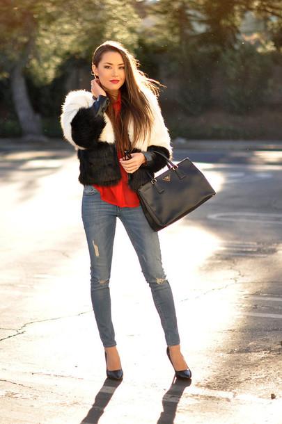 hapa time blogger blouse faux fur jacket ripped jeans black bag coat sunglasses bag shoes