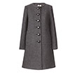 Orla Kiely | UK | Clothing | Sale - Outerwear | Heavy Wool Detachable Fur Collar Coat (13AWHVY832) | Grey Melange