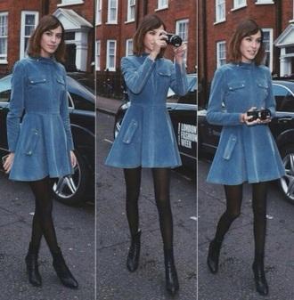 dress fashion art grunge model style denim alexa chung denim dress preppy
