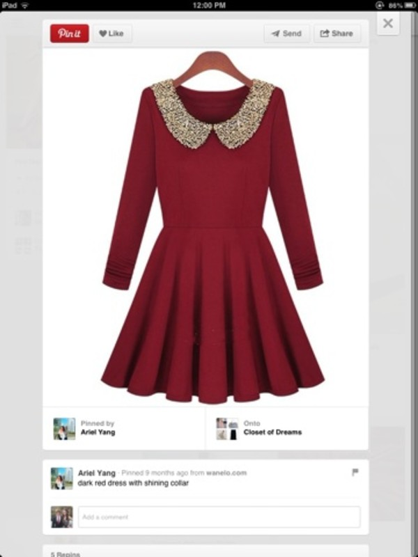 dress sequins red burgundy red dress long sleeves skater collar