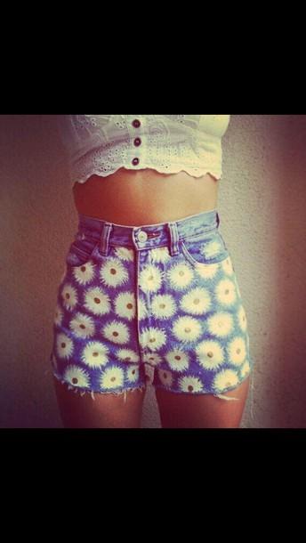 shorts denim shorts High waisted shorts daisy shorts