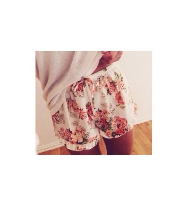 shorts flowered shorts sweater