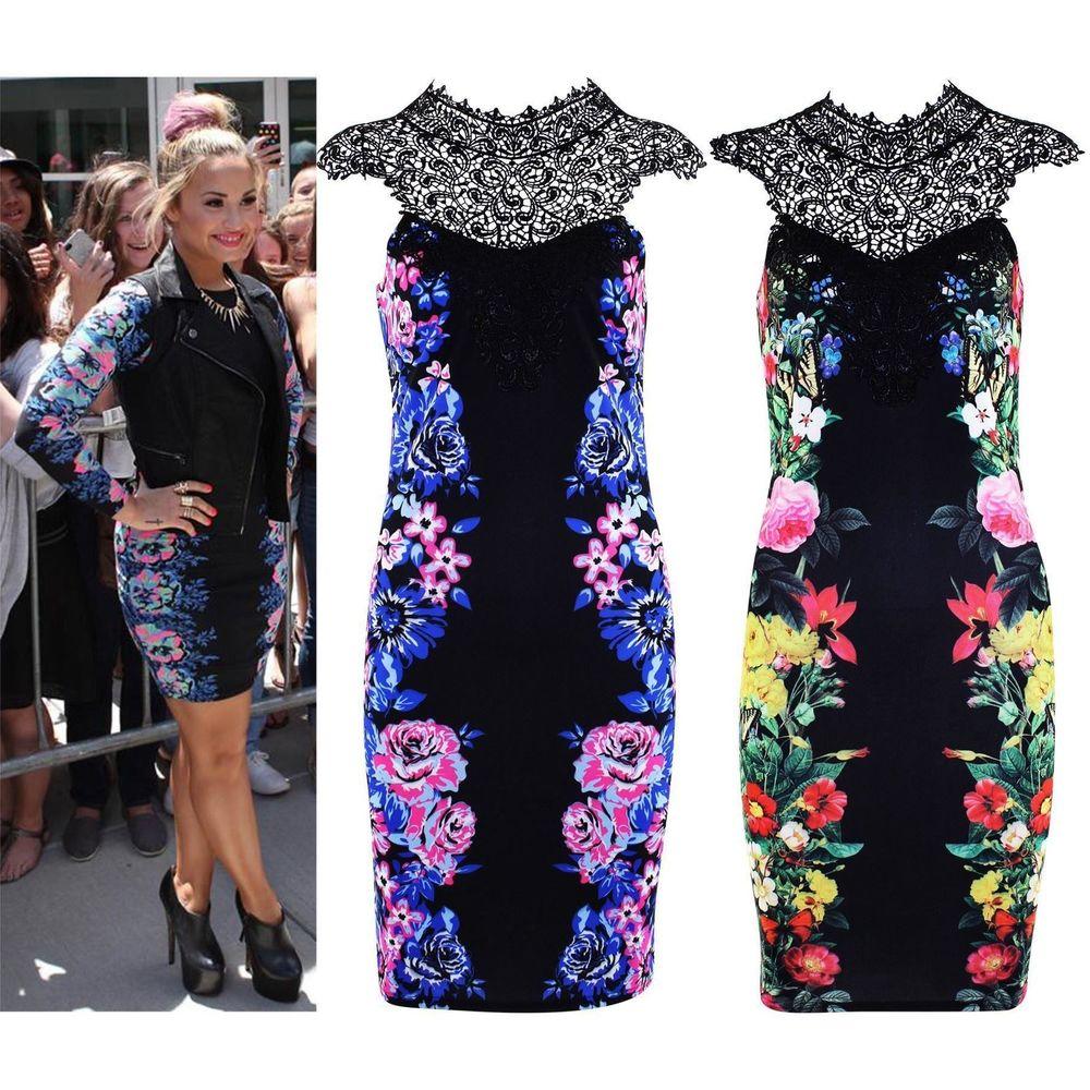 Womens Mini Dress Demi Lovato Floral Print Lace Party Bodycon Short Skirt Tops | eBay