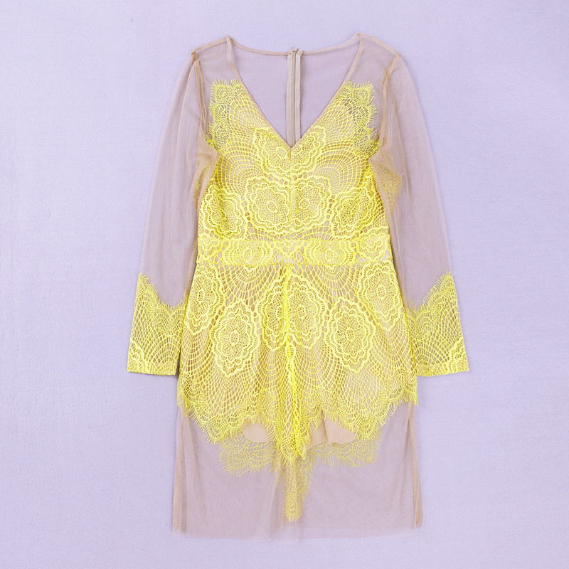 Yellow Lace Perspective Mesh Sexy Dress MX114$139