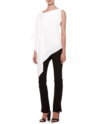 Donna Karan Matte Crepe Asymmetric Top & Structured Slim Jersey Body Pants - Neiman Marcus