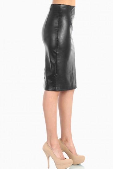 LoveMelrose.com From Harry & Molly | Knee Length Leather Skirt - Black