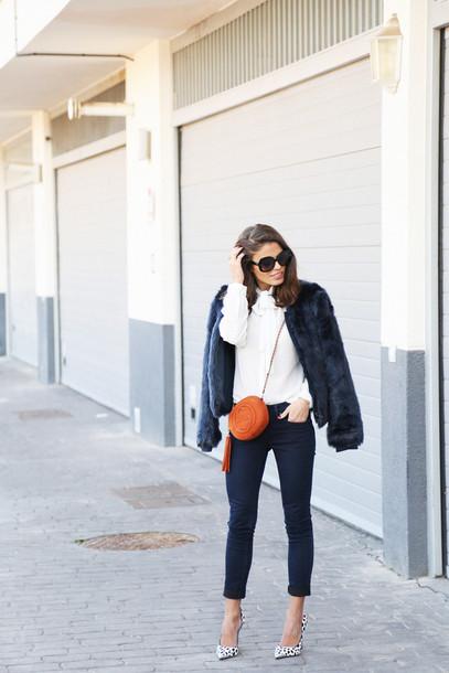 seams for a desire blogger gucci mini bag white sweater faux fur jacket pointed toe coat shirt jeans shoes bag jewels sunglasses black fur jacket