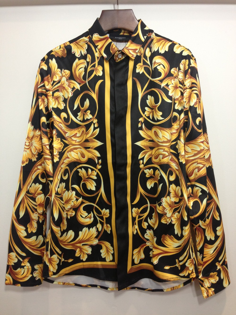 2014 new brand givenc y influx of people GIV golden flower print shirt fashion casual long sleeved shirt-in Casual Shirts from Apparel & Accessories on Aliexpress.com