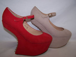 Ladies Seude Spike Stud Heel Less Platform Wedge Shoe   eBay