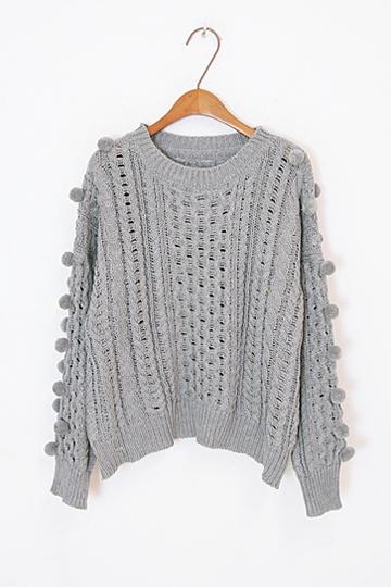 Cute Hair Ball Twist Knit Sweater [FKBJ10330]- US$34.99 - PersunMall.com