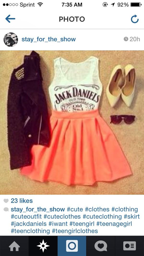 dress jack daniel's pinkish orange skirt top bottoms cute dress lace