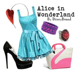 dress disney heels pures blue blue dress alice aliceinwonderland alice in wonderland