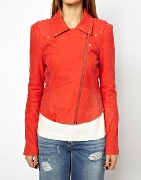 Y.A.S | Y.A.S Lein Biker Jacket In Red Suede at ASOS