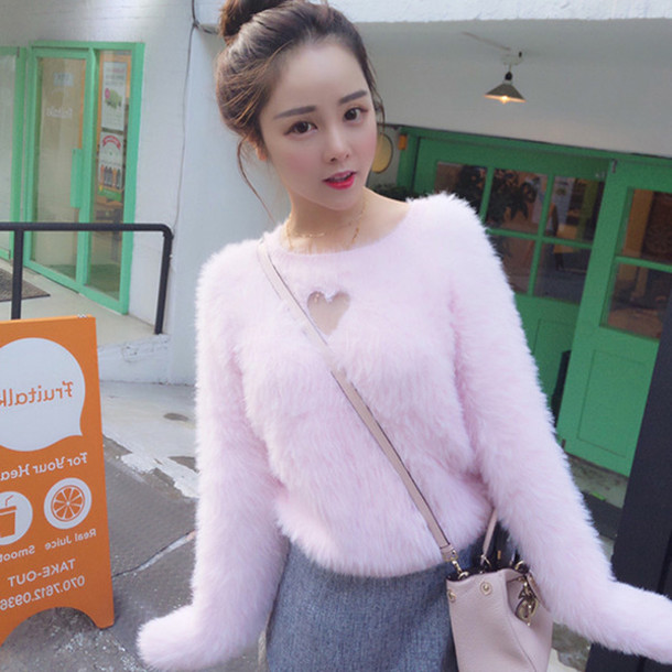 Sweater Hollow Hollow Sweater Hollow Top Pink Sweater Heart Sweater Hollow Heart Sweater Kawaii Sweater Fairy Kei Cute Sweater Pastel Sweater Winter Outfits Winter Sweater Harajuku Japanese Fashion Korean Fashion K Pop Style