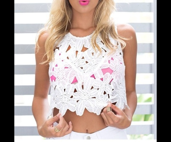 tank top white floral top