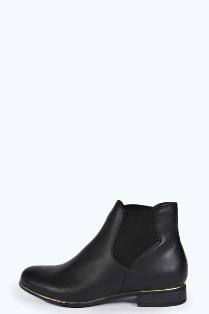 shoes chelsea boots gold black shoes ankle boots