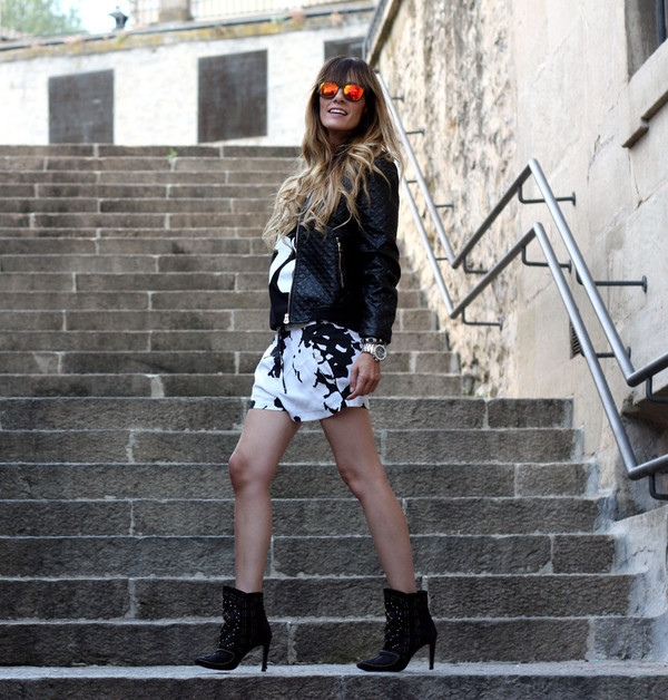 rebel attitude jacket shorts t-shirt shoes sunglasses