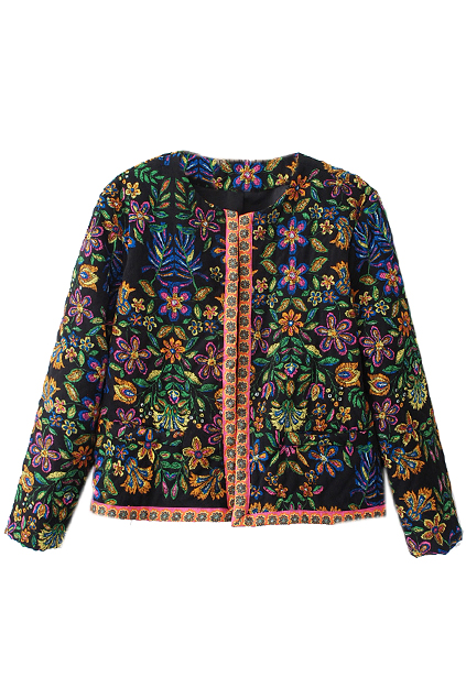 ROMWE | Retro Floral Short Padded Jacket, The Latest Street Fashion