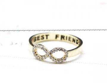 BEST FRIEND Infinity Ring Detailed With CZ In Gold on Luulla