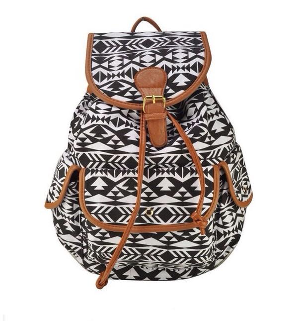 bag white black aztec backpack aztec backpack