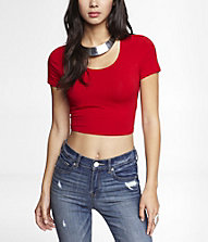 SHORT SLEEVE CROPPED TEE | Express