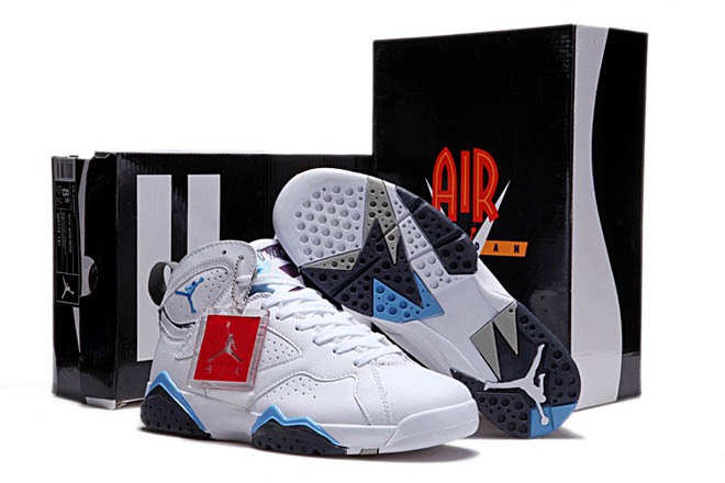 Nike Jordan 7 Orion Cheap Sale with Color Sky Blue and Purple White - Mens Basketball Leather Shoes -  Jordan 7 VII Mens