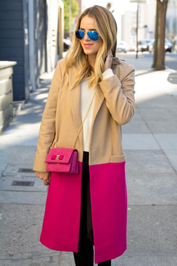 gal meets glam coat sweater jeans shoes bag sunglasses jewels