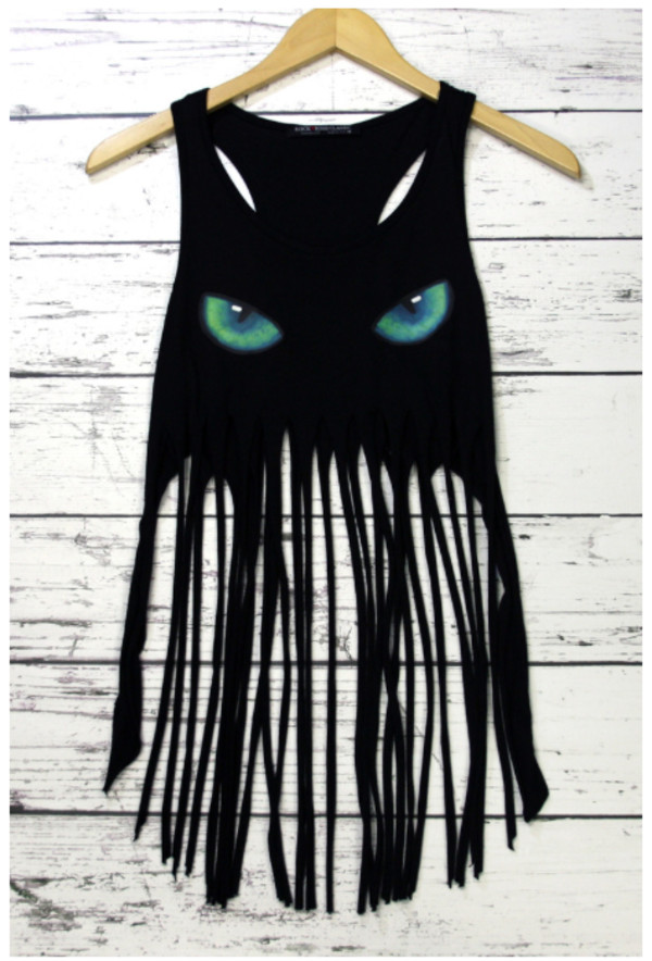 top fringed top sleeveless top cats eye top black top black fringe top cat eye
