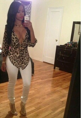 blouse leopard print long sleeves open front sexy jacket