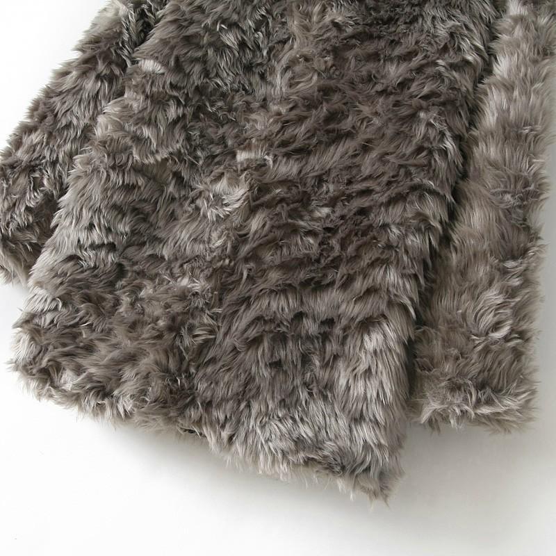 Grey Long Sleeve Zipper Faux Fur Coat - Sheinside.com