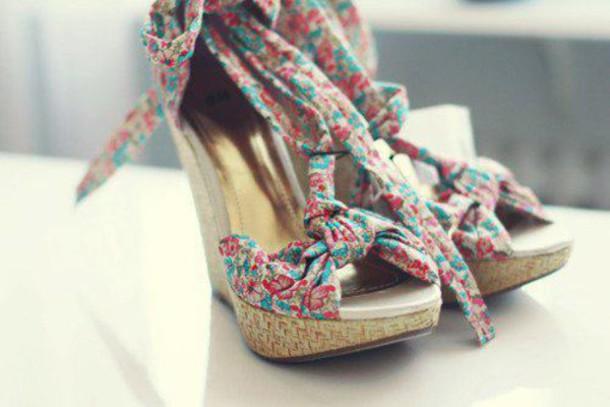 shoes wedges floral platform sandals