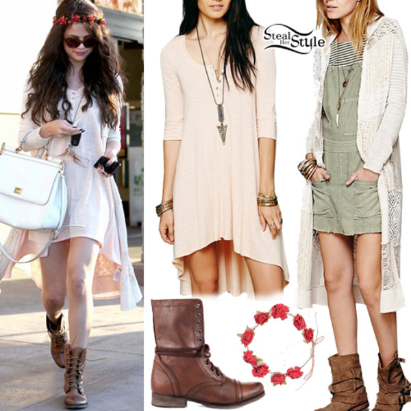 dress combats long knitted cardigan selena gomez sweater hat bag shoes