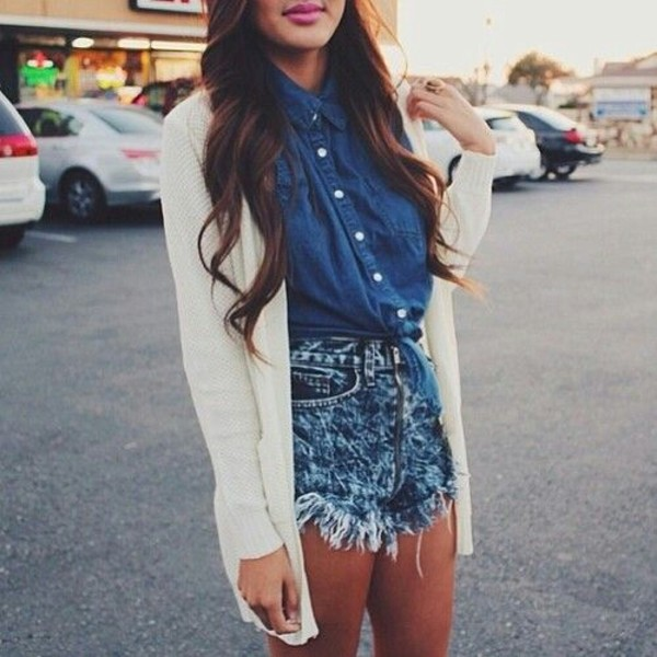 shorts cute outfits cardigan denim outfit shirt sweater blouse cutoff denim shorts oversized sweater