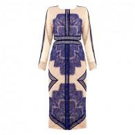 Mireya Blue Midi Lace Dress