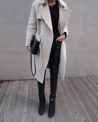 mango zara black and white leather pants style white coat grey coat coat winter coat jacket