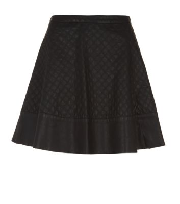 Only Black Leather-Look Quilted Skater Skirt