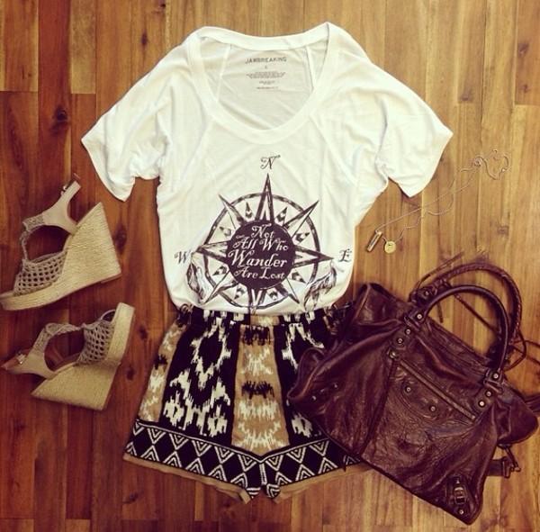 shorts aztec tribal pattern shirt